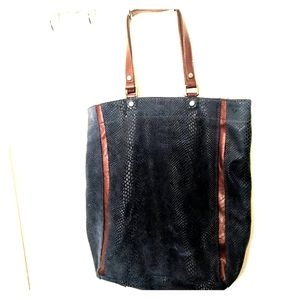 BCBG blue leather tote